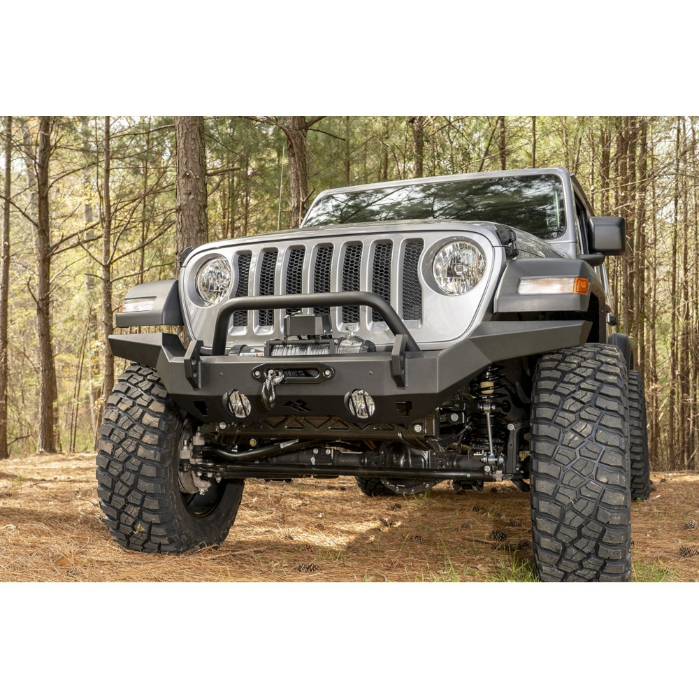Jeep Rugged Ridge Hd Full Width Front Bumper, Black Powder Coat, Exterior Car Parts | 2007-2020