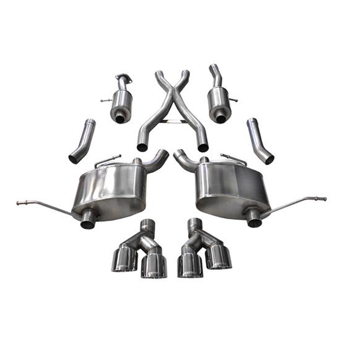 """Image of Corsa 2.5"""" Sport Cat-Back Dual Exhaust System With Twin Rear Exit 4.0"""" Polished Pro-Series Tips"""