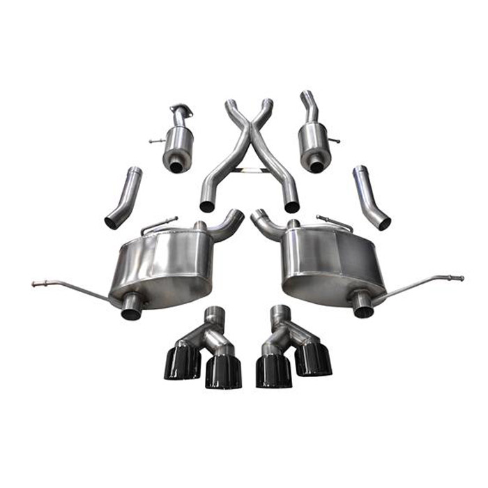 """Image of Corsa 2.5"""" Sport Cat-Back Dual Exhaust System With Twin Rear Exit 4.0"""" Black Pro-Series Tips"""