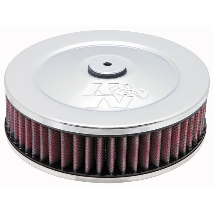 """Image of K&n Air Cleaner Assembly, 7"""" Round With 2-5/8"""" Neck Flange - Chrome"""