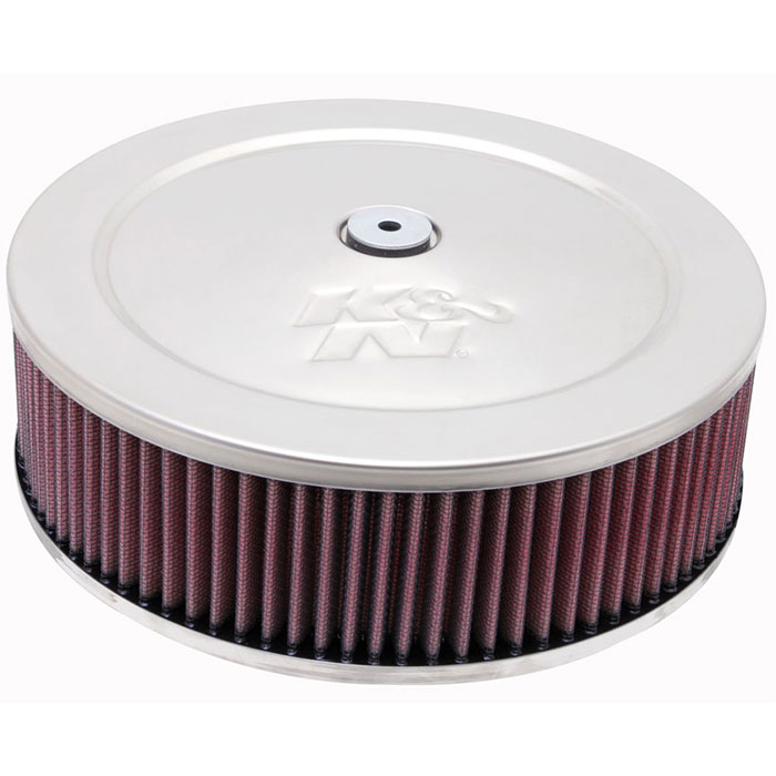 """Image of K&n Air Cleaner Assembly, 9"""" Round With 2-5/8"""" Neck Flange - Chrome"""