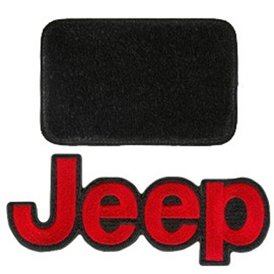 Image of Lloyd Mats Ultimat Black Front And Rear Floor Mat Set, Front With Red Jeep Logo - 4 Piece Set