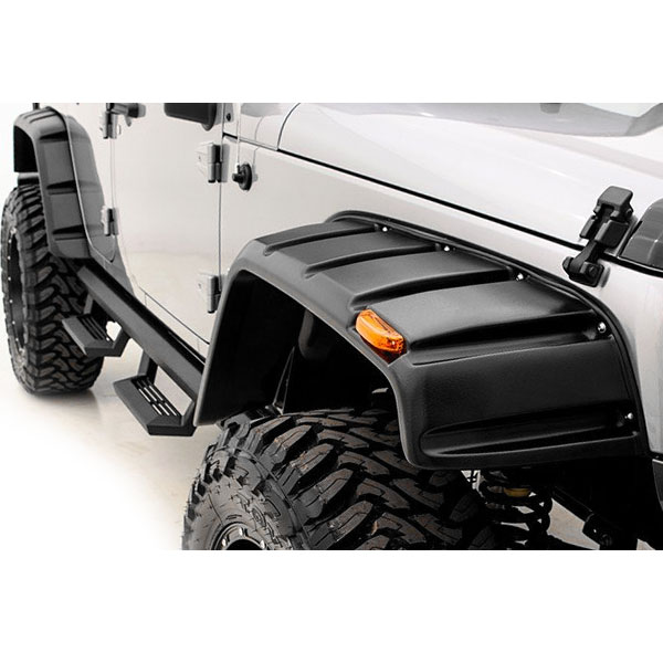 Image of Rampage Rx Rivet Style Fender Flare Kit With Stainless Steel Bolts, 4 Piece - Smooth Black