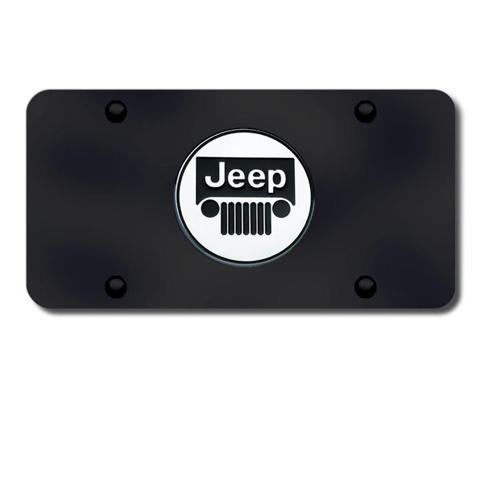 Image of Au-Tomotive Gold 3D License Plate With Jeep Grille Logo - Black Powder Coated
