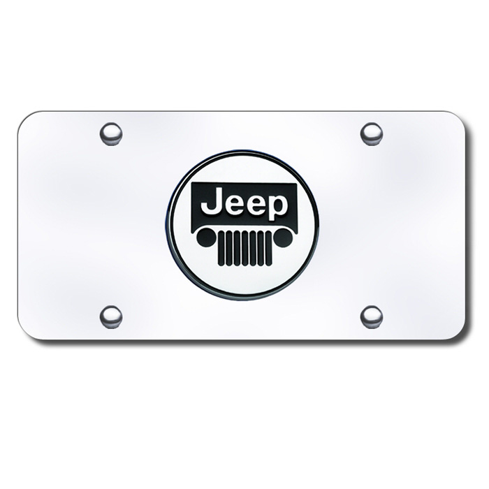 Image of Au-Tomotive Gold 3D License Plate With Jeep Grille Logo - Stainless Steel