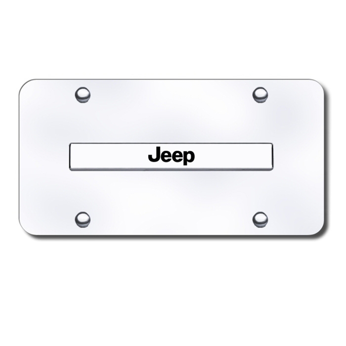 Image of Au-Tomotive Gold 3D License Plate With Jeep Logo On Rectangular - Stainless Steel