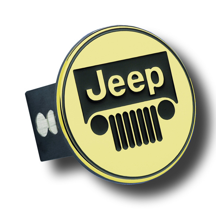 "Image of Au-Tomotive Gold 2"" Hitch Plug With Jeep Grille Logo - Gold"