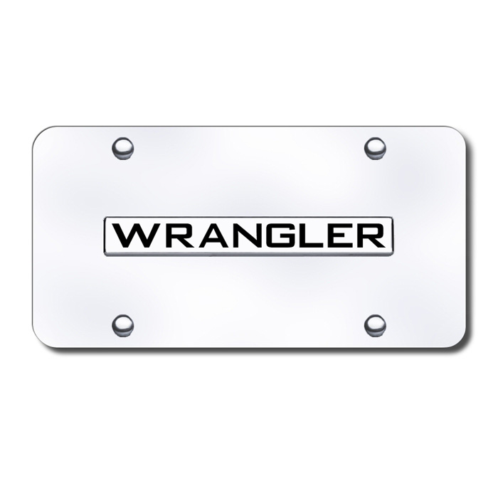 Image of Au-Tomotive Gold 3D License Plate With Wrangler Logo On Rectangular - Stainless Steel