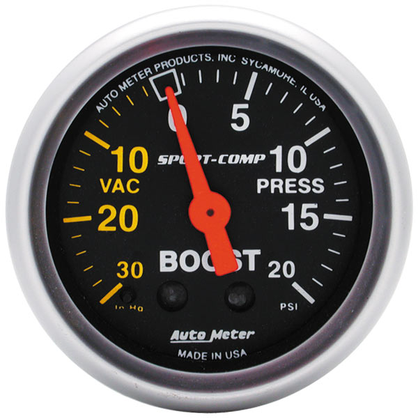 "Image of Auto Meter 2 1/16"" Boost/vacuum, 30 In. Hg/ 20 Psi, Sport-Comp"