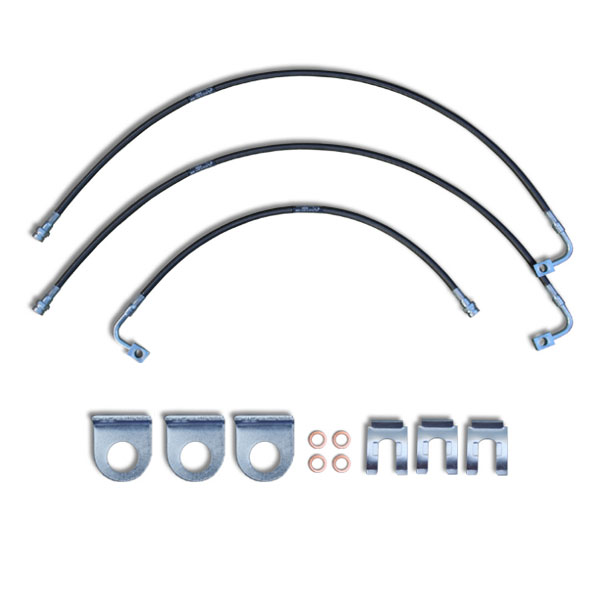 """Image of Crown Performance 24"""" Extended Brake Lines For 6""""-7"""" Lift - Black"""