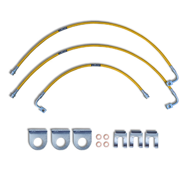 """Image of Crown Performance 24"""" Extended Brake Lines For 6""""-7"""" Lift - Fluorescent Orange"""