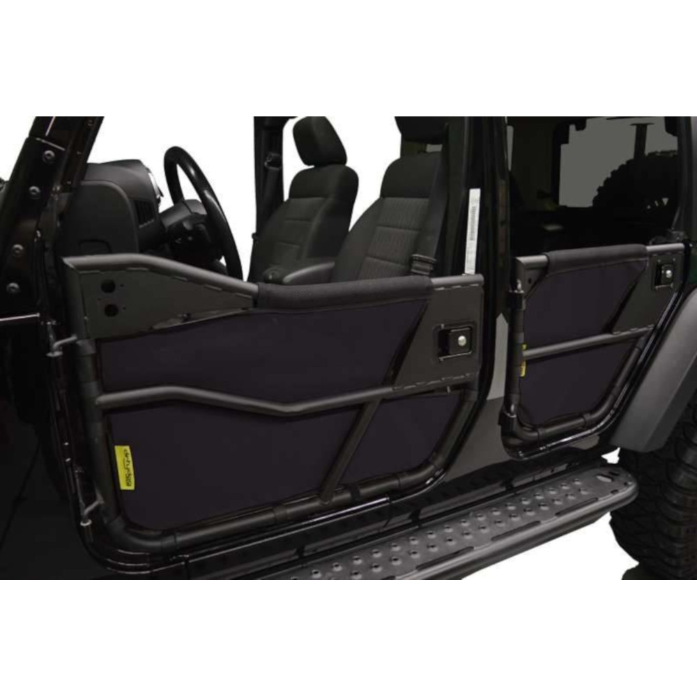Dirtydog 4X4 Tube Door Screen, Black, Exterior Car Parts | 2007-2018 Wrangler JKU, DDOG-J4TS07BTBK