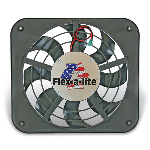 "Image of ""Flex-A-Lite 12-1/8"""" Lo-Profile S-Blade Electric Fan With Adjustable Thermostat Controller"""