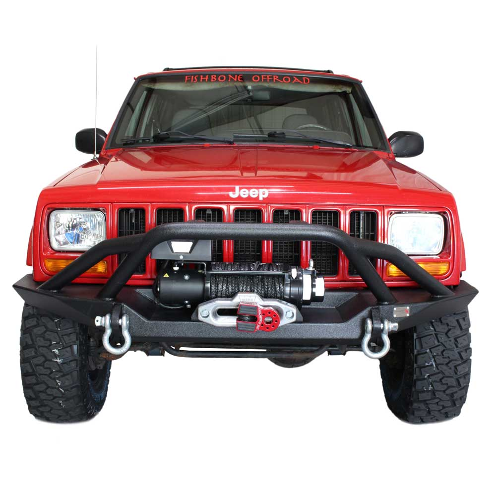 Image of Fishbone Bullhead Front Winch Bumper With Grille Guard And D-Rings, Steel - Textured Black