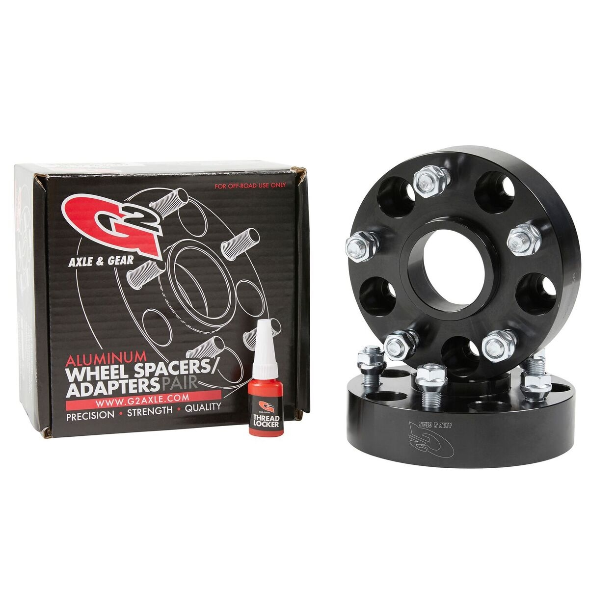 """Image of G2 Axle & Gear 1.75"""" Wheel Spacers, 5X5"""" Bolt Pattern, Black Aluminum - Pair"""