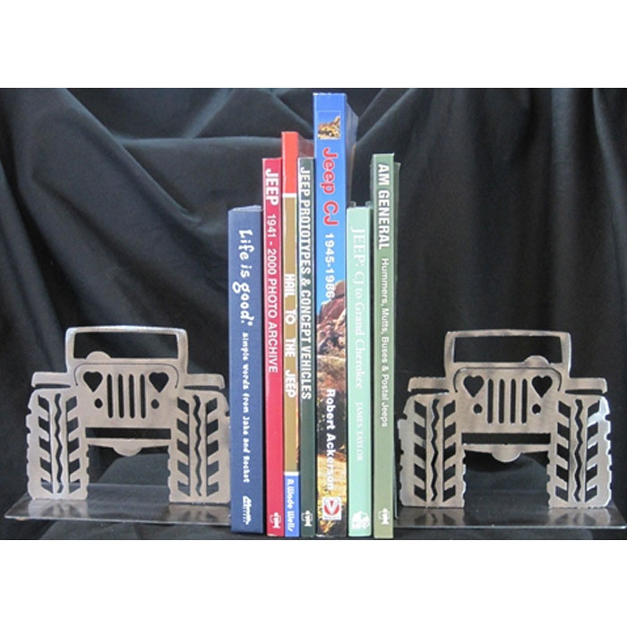 """Fits: Universal Description: These Jeep Bookends Are Unique And Great To Surround Your Favorite Books. Each Bookend Features A Jeep With Heart Shaped Headlights. Product Details: Bookends To Hold Your Favorite Books Made From Steel And Hand Finished In A Polished Finish Each Bookend Measures 6.5"""" W X 5"""" H X 3"""" D Made In The Usa Parts Included: (2) Jeep Bookends With Heart Headlights - Polished Handcrafted Steel"""