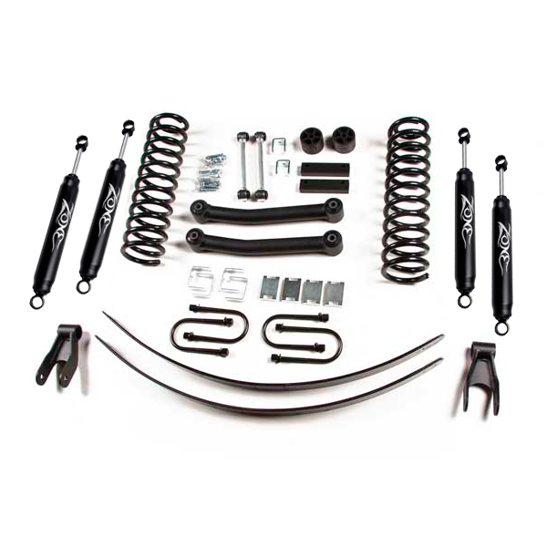 Zone Offroad 4.5 Suspension Lift Kit With Nitro Shocks And Rear Add-A-Leaf Springs