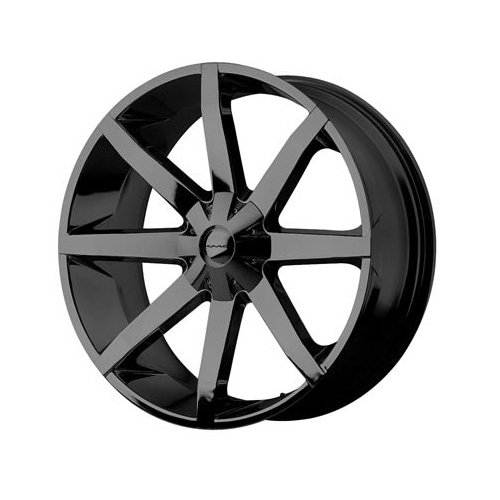 "Image of Kmc Km651 Slide Series Wheel Gloss Black, 22X9.5"" 5X5/4.5 Bolt Pattern, Back Spacing 6.8"""