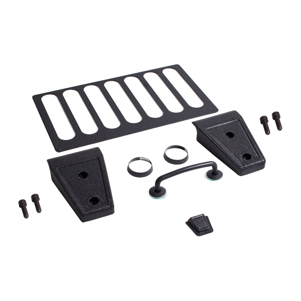 Image of Rugged Ridge Hood Dress Up Kit, Powder Coated - Textured Black