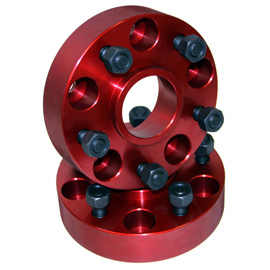 """Image of Alloy Usa 1.25"""" Wheel Adapters, 5X4.5"""" To 5X5.5"""" Bolt Pattern, Red Aluminum - Pair"""
