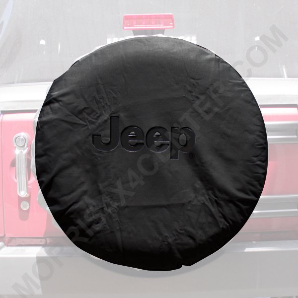 Image of Mopar Cloth Tire Cover With Black Jeep Logo - Black Denim