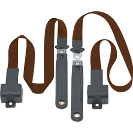 Image of Front Metal Push Button 2 Point Retractable Lap Belts, Dark Brown