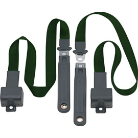 Image of Front Metal Push Button 2 Point Retractable Lap Belts, Dark Green