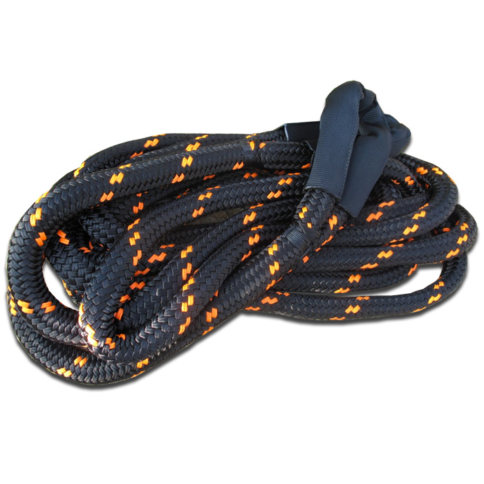 "Image of Viking Offroad 1"" X 30' Recovery Tow Rope Black Nylon With Orange Tracers"