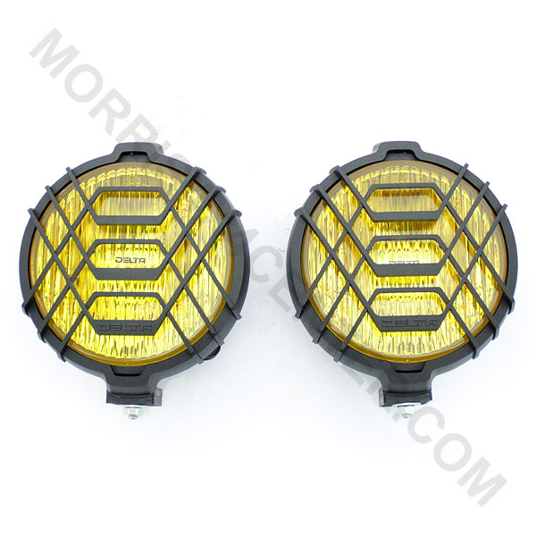 Image of Delta 150 Series Amber Halogen Fog Light Kit 55W With Stone Guards (Pair), Round