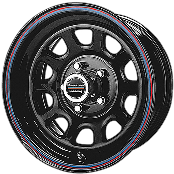 "Image of ""American Racing Ar767 Steel Wheel - 16""""x8 -Bolt Pattern 5X5.5"""" - Backspacing 4.97"""" - Gloss Black W/ Red And Blue Stripes"""