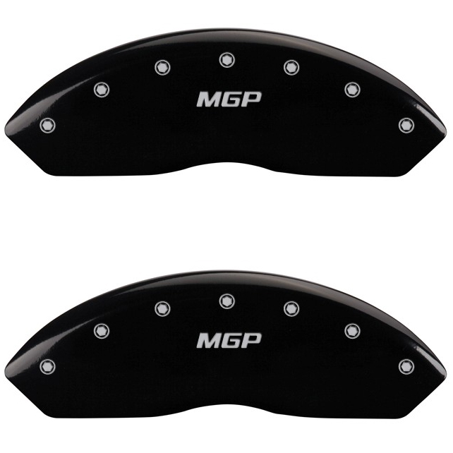 Image of Mgp Front Brake Caliper Covers, Black Powder Coat Finish With Engraved Silver Mgp Logo - Pair