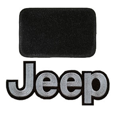 Image of Lloyd Mats Ultimat Black Front And Rear Floor Mat Set, Front With Silver Jeep Logo - 4 Piece Set