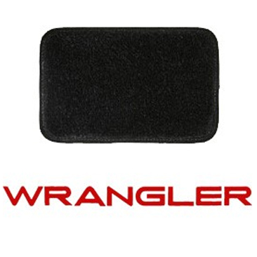 Image of Lloyd Mats Ultimat Black Front And Rear Floor Mat Set, Front With Red Wrangler Logo - 4 Piece Set