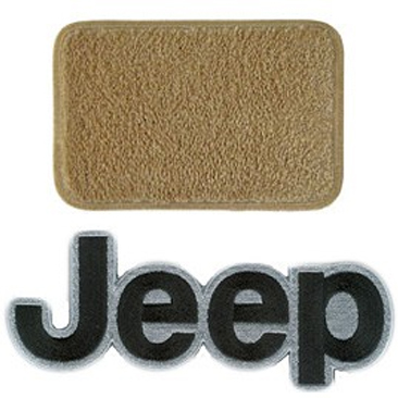 Image of Lloyd Mats Ultimat Antelope Front Floor Mat Set With Black Jeep Logo - 2 Piece Set