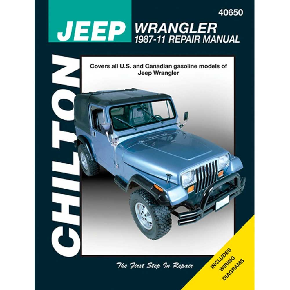 Important Notes: Sold Individually Fits: 2007-2011 Jeep Wrangler Jk 2007-2011 Jeep Wrangler Unlimited Jk 1997-2006 Jeep Wrangler Tj 2004-2006 Jeep Wrangler Unlimited Tjl 1987-1995 Jeep Wrangler Yj Description: This Series Dominates The Market With Total Information From Maintenance To A Complete Engine Rebuild. Its User-Friendly Format Provides Exciting Graphics, Photos, Charts, Exploded-View Illustrations And More. Excellent Wiring Diagrams And Emission Control Information. Product Details: Based On Actual Teardowns Simple Step-By-Step Procedures For Engine Overhaul, Chassis Electrical Drive Train, Suspension, Steering And More Includes Wiring Diagrams Parts Included: (1) Chilton Total Care Manual Years Covered: 1987, 1988, 1989, 1990, 199