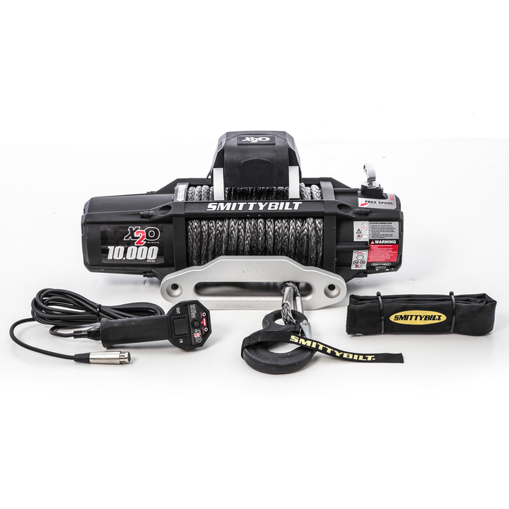 Smittybilt X20-10 Comp Gen2 Waterproof Winch With Synthetic Rope And Aluminum Fairlead, 10,000