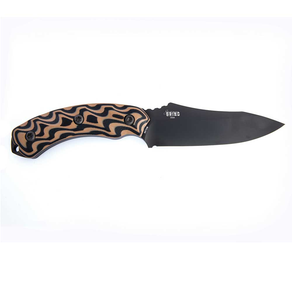 Image of Southern Grind Jackal Hunting Knife-Black Blade And Black And Tan Handle With A Black Kydex Sheath