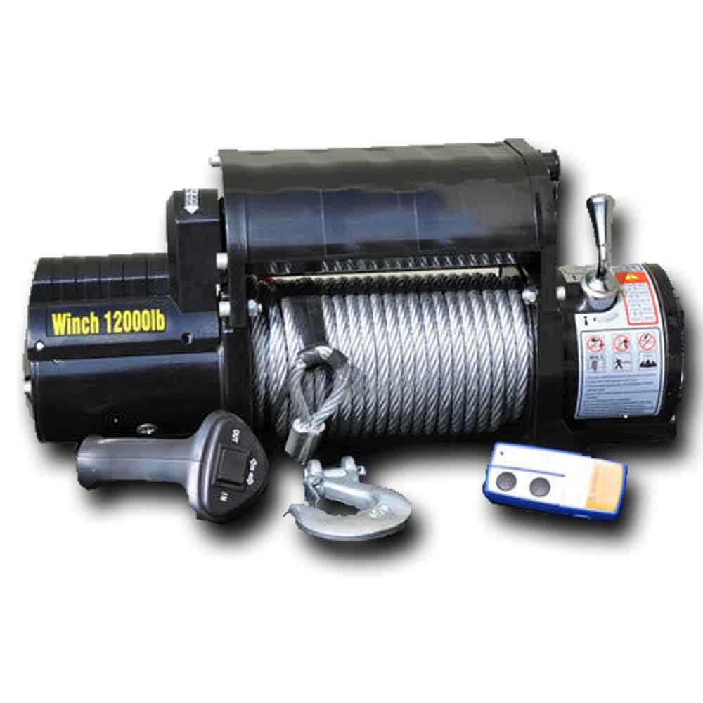 Image of Dv8 Off-Road 12,000 Lb. Winch With Steel Cable And Wireless Remote, Black