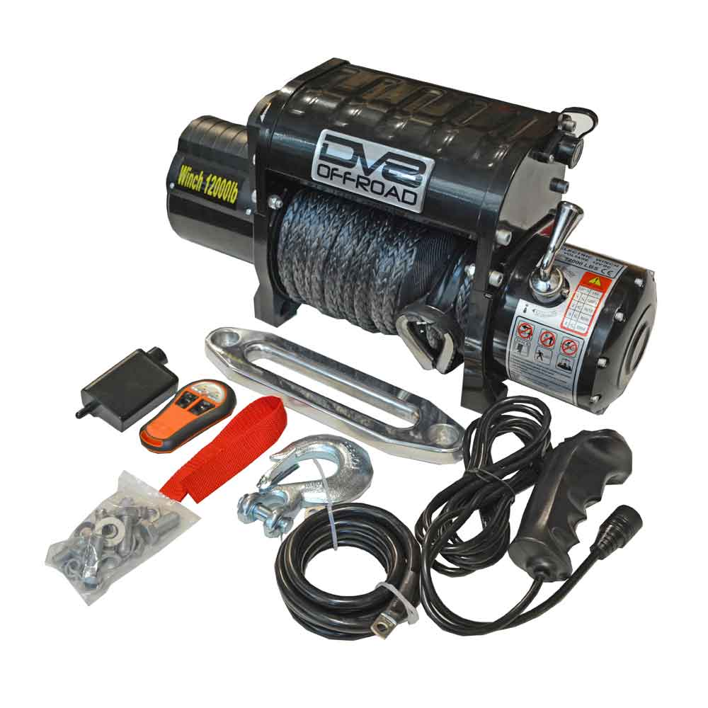 Image of Dv8 Off-Road 12,000 Lb. Winch With Synthetic Line And Wireless Remote, Black