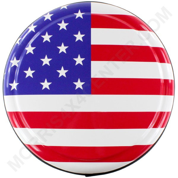 "Image of Boomerang American Flag Rigid Tire Cover For 33"" Tire"