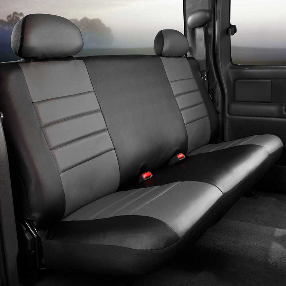 Image of Fia Leatherlite Custom Fit Seat Covers, Rear Seat, Black With Gray Center Panel