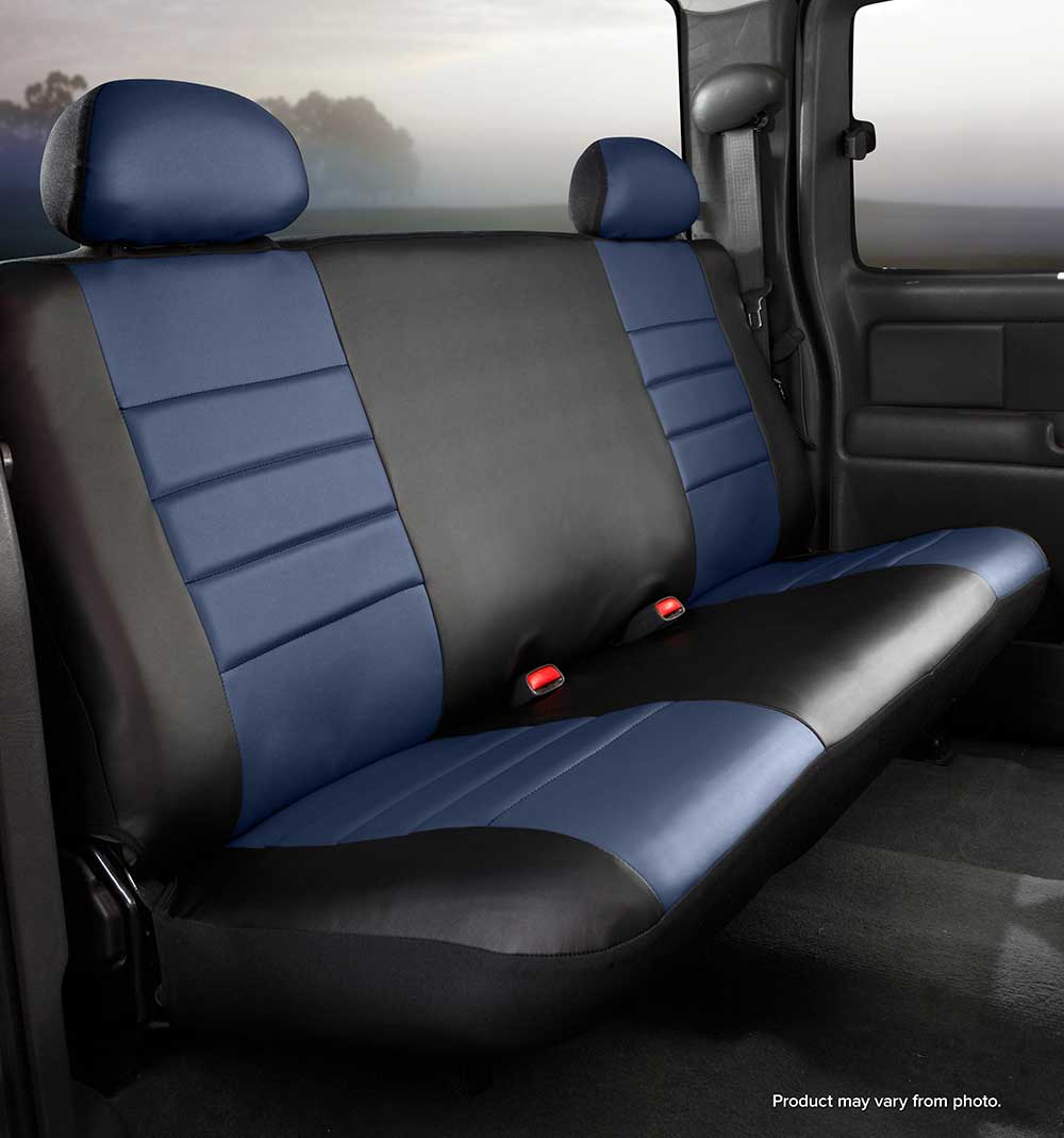 Image of Fia Leatherlite Custom Fit Seat Covers, Rear Seat, Black With Blue Center Panel