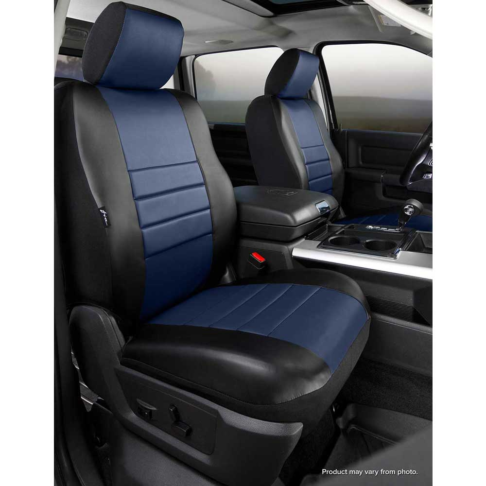 Image of Fia Leatherlite Custom Fit Seat Covers, Front Seat, Black With Blue Center Panel - Pair