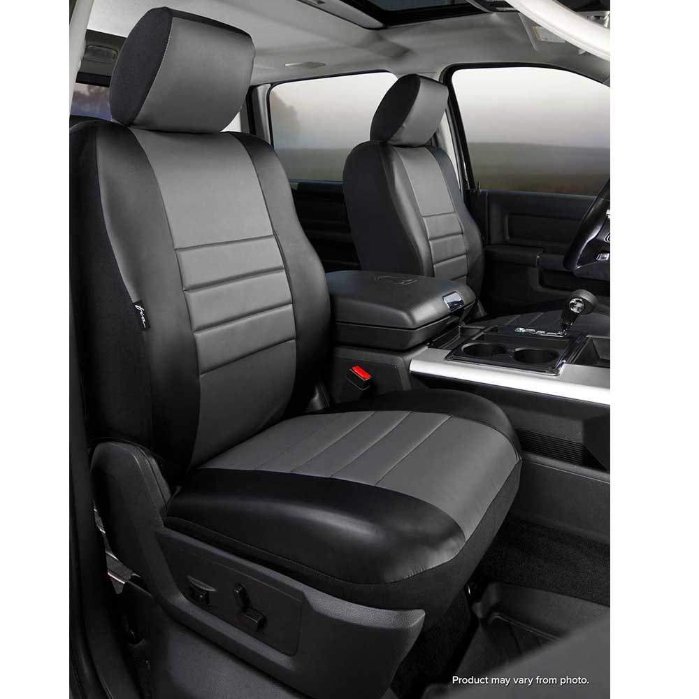 Image of Fia Leatherlite Custom Fit Seat Covers, Front Seat, Black With Gray Center Panel - Pair