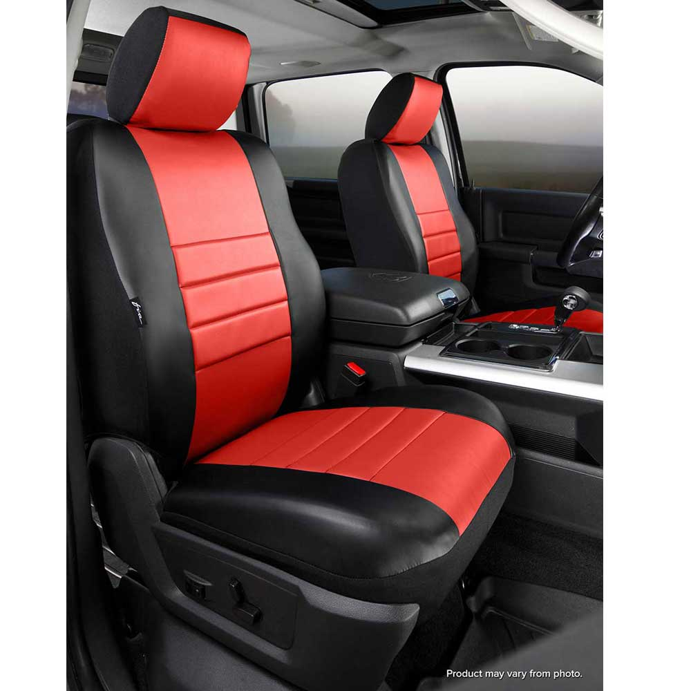 Image of Fia Leatherlite Custom Fit Seat Covers, Front Seat, Black With Red Center Panel - Pair