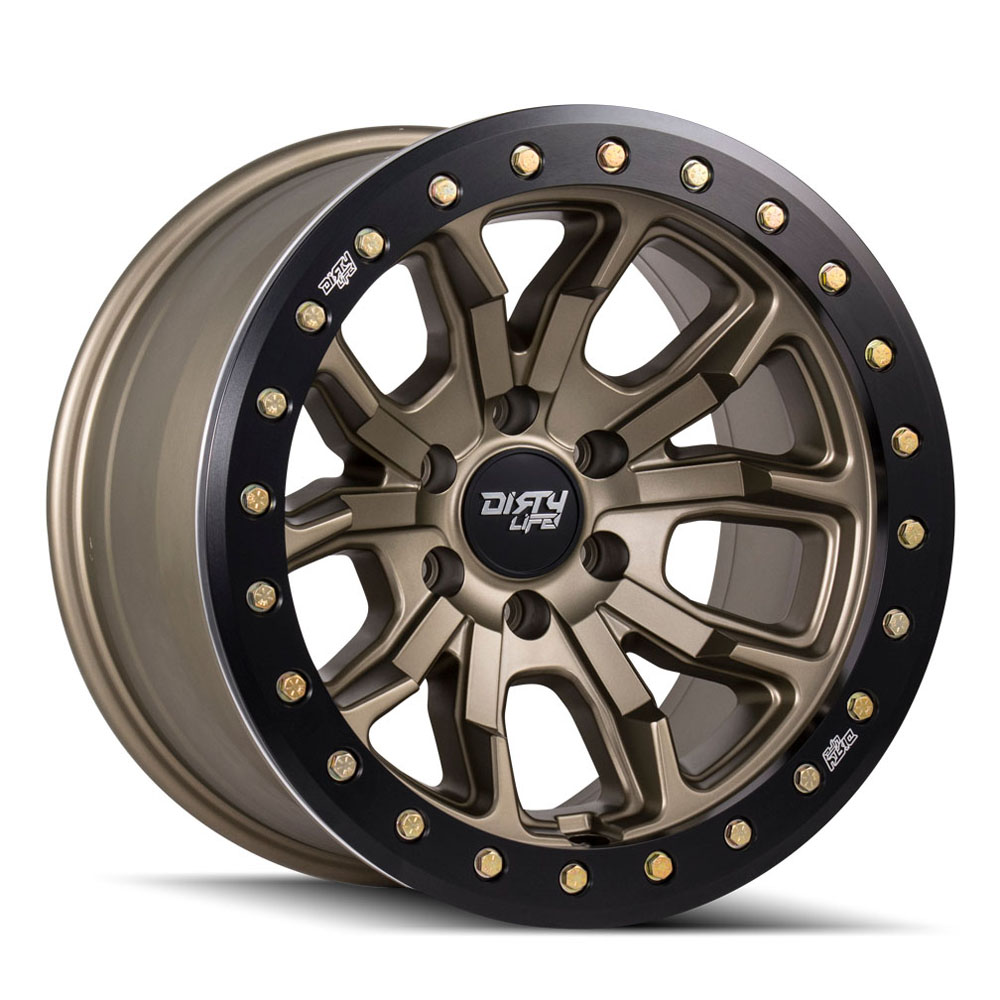 "Image of Dirty Life Dt-1 9303 Series Wheel, 17""x9"", 5X5 Bolt Pattern, 4.53"" Back Spacing - Matte Gold"