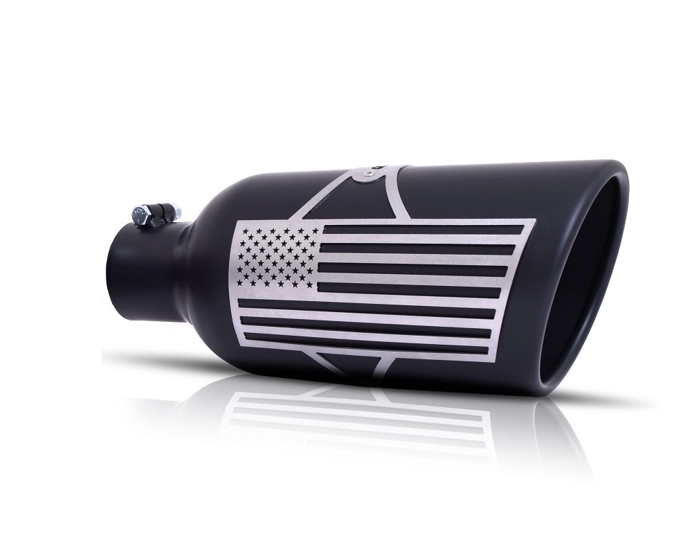 Gibson Patriot Series Rolled Edge Angle Exhaust Tip, Inlet 5 In.; Outlet 6 In.; L-18 In. - Black Ceramic