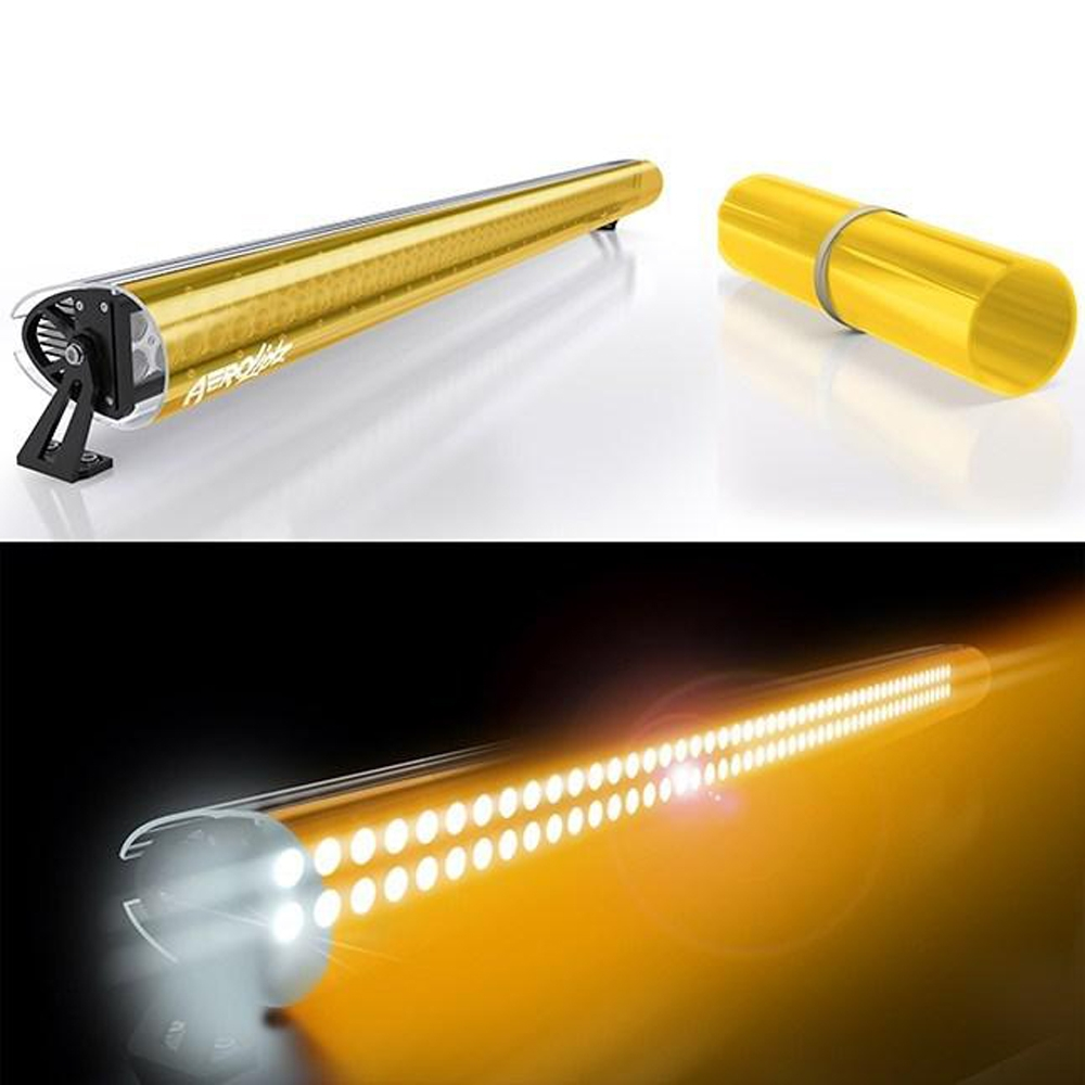 Aerolidz 52 Transparent Insert For Dual Row Light Bar Silencer, Amber, Exterior Car Parts,