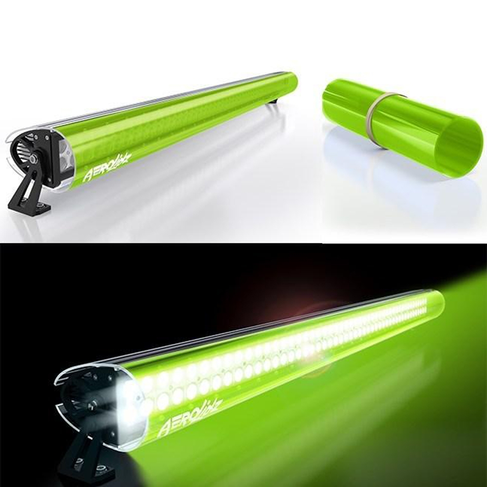 Aerolidz 52 Transparent Insert For Dual Row Light Bar Silencer, Lime Green, Exterior Car Parts,