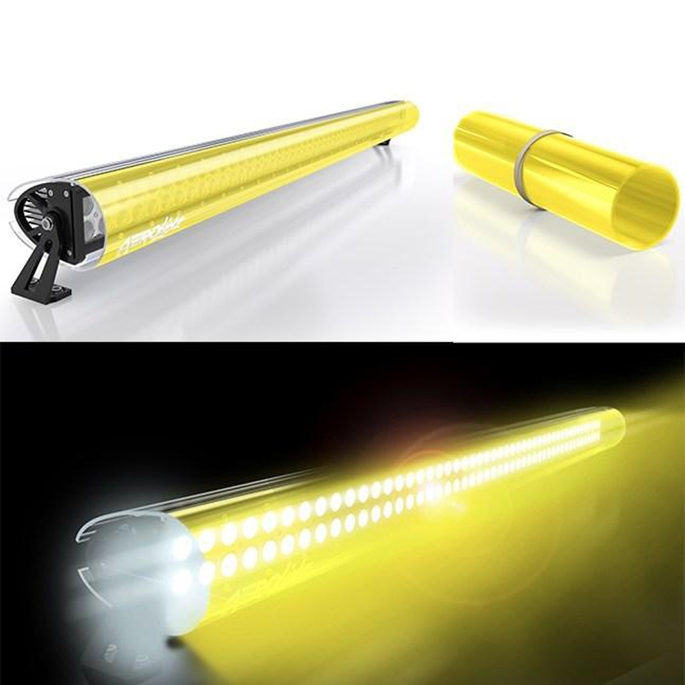 Aerolidz 52 Transparent Insert For Dual Row Light Bar Silencer, Yellow, Exterior Car Parts,